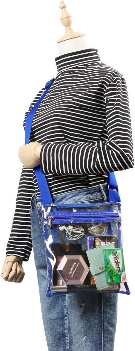 HULISEN Clear Crossbody Purse Bag School Concert Stadium Approved Bag with Extra Inside Pocket and Adjustable Shoulder Strap for Work Sports Games