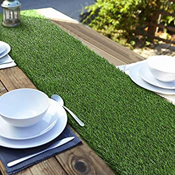 Aneco Artificial Grass Table Runners Carpet Roll Synthetic Grass Table Runner 12 x 108 Inch Grass Tabletop Decoration for Spring Fall Summer Holiday Baby Shower Wedding Birthday Banquet