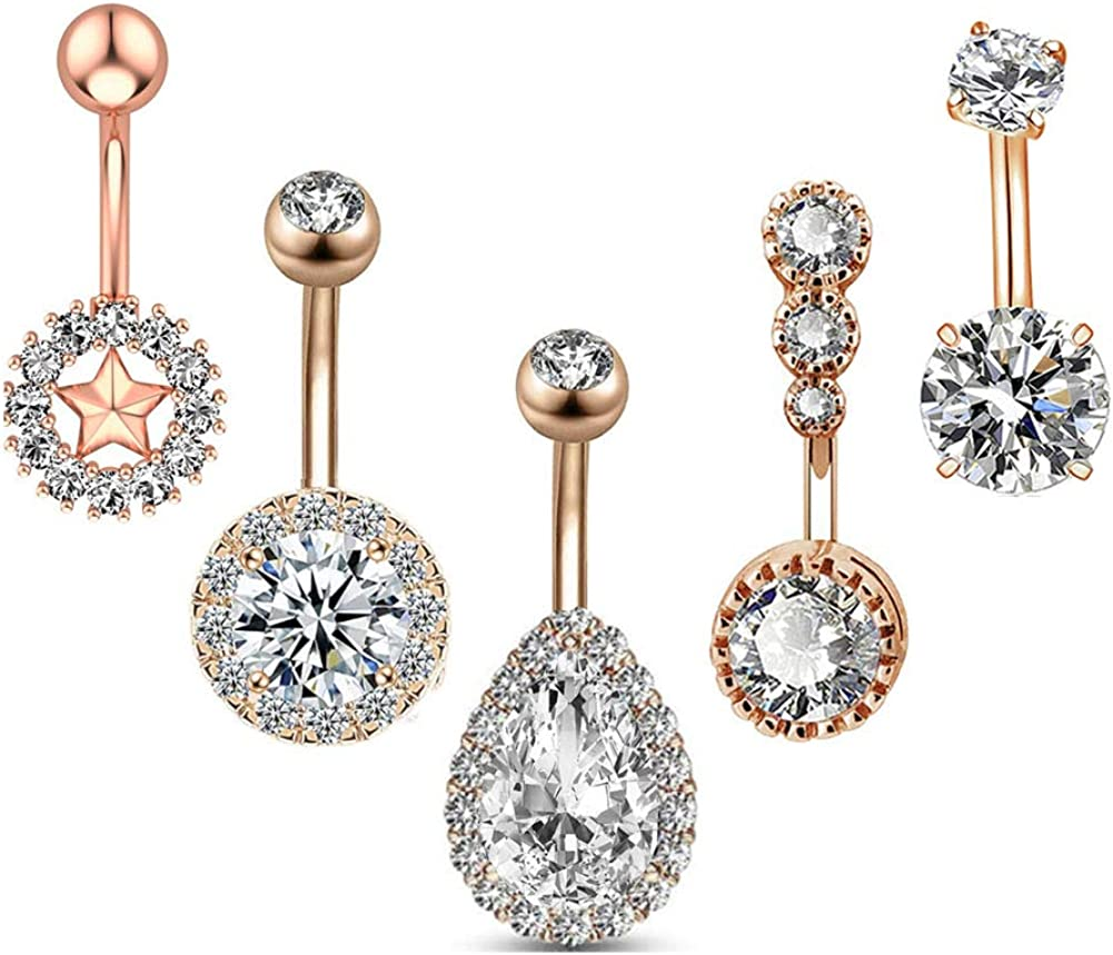 HQLA 14G Belly Button Rings for Women Girls Surgical Steel Multiple Shape Teardrop/Round/Star/Dainty CZ Belly Rings Navel Rings Body Piercing Jewelry 5 Pcs A Set