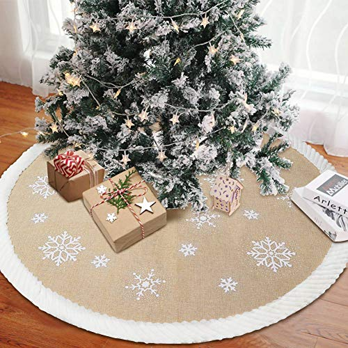 AerWo Burlap Tree Skirt 48-inch Christmas Tree Skirt with Snowflake Pattern Christmas Tree Decorations Farmhouse Christmas Tree Skirt for Christmas Decoration New Year Party Supply