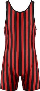 iixpin Men's Sleeveless Overalll Sports Vest Striped Bodysuit Gymnastics Training Jumpsuits