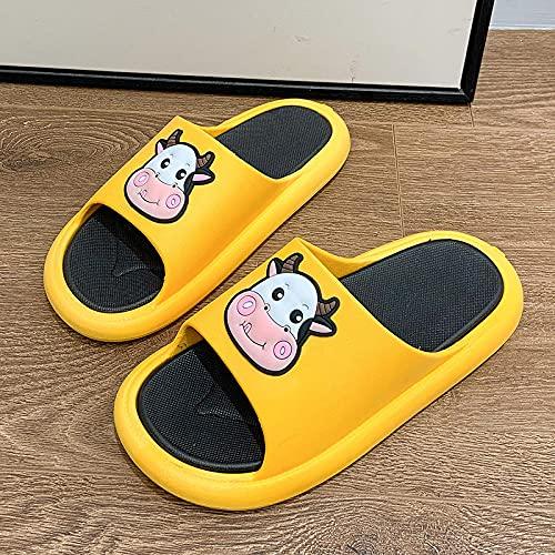 zapatillas de casa para mujer verano,Zapatillas para el hogar, Hombres y Mujeres Verano Interior Dibujos Animados Soled Soled Lindo Pareja Casa Baño Hogar Sandalias y Zapatillas antideslizantes-42-43