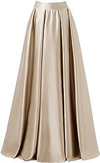 Women High Waist Elastic Satin Flared Swing Maxi Skirt Pleat Prom Gown