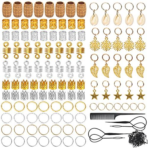 LOPOTIN 150 perlas vikingas para barba, estilo antiguo, estilo nórdico, perlas de cerámica africana, para trenzar, pulsera, colgante, collar, plata, joyas para el pelo