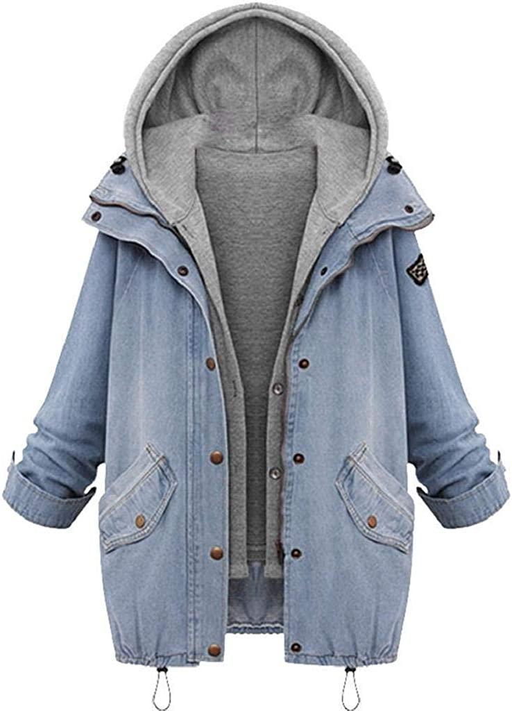 ZANFUN Women Jean Jacket Hooded Denim Very Year-end gift popular and Fas Set Two-Piece Vest