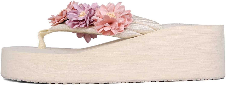 Women Platform Black Beige Flip Flops Height Increasing Wedge shoes Ladies Slippers