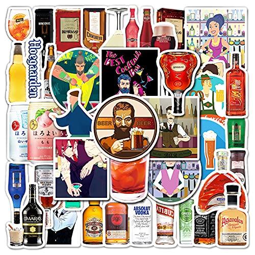 JZLMF 67 Pegatinas de Graffiti de Botella de Vino de Dibujos Animados, Pegatinas de Mosca Muerta de Scooter de Equipaje Personalizadas, Pegatinas de Coche para niños y niñas