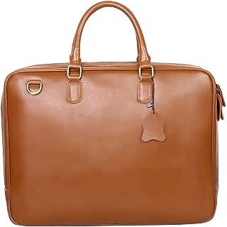 Leathario Mens Leather 14 Inch Laptop Messenger Briefcase Office Crossover Shoulder travel Bag Handbag Weekend Bag