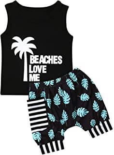 Toddler Baby Boys Summer Shorts Set Sleeveless Shirts Top and Blommer Shorts Clothes Outfits (Beaches Love Me, 12-18 Months)