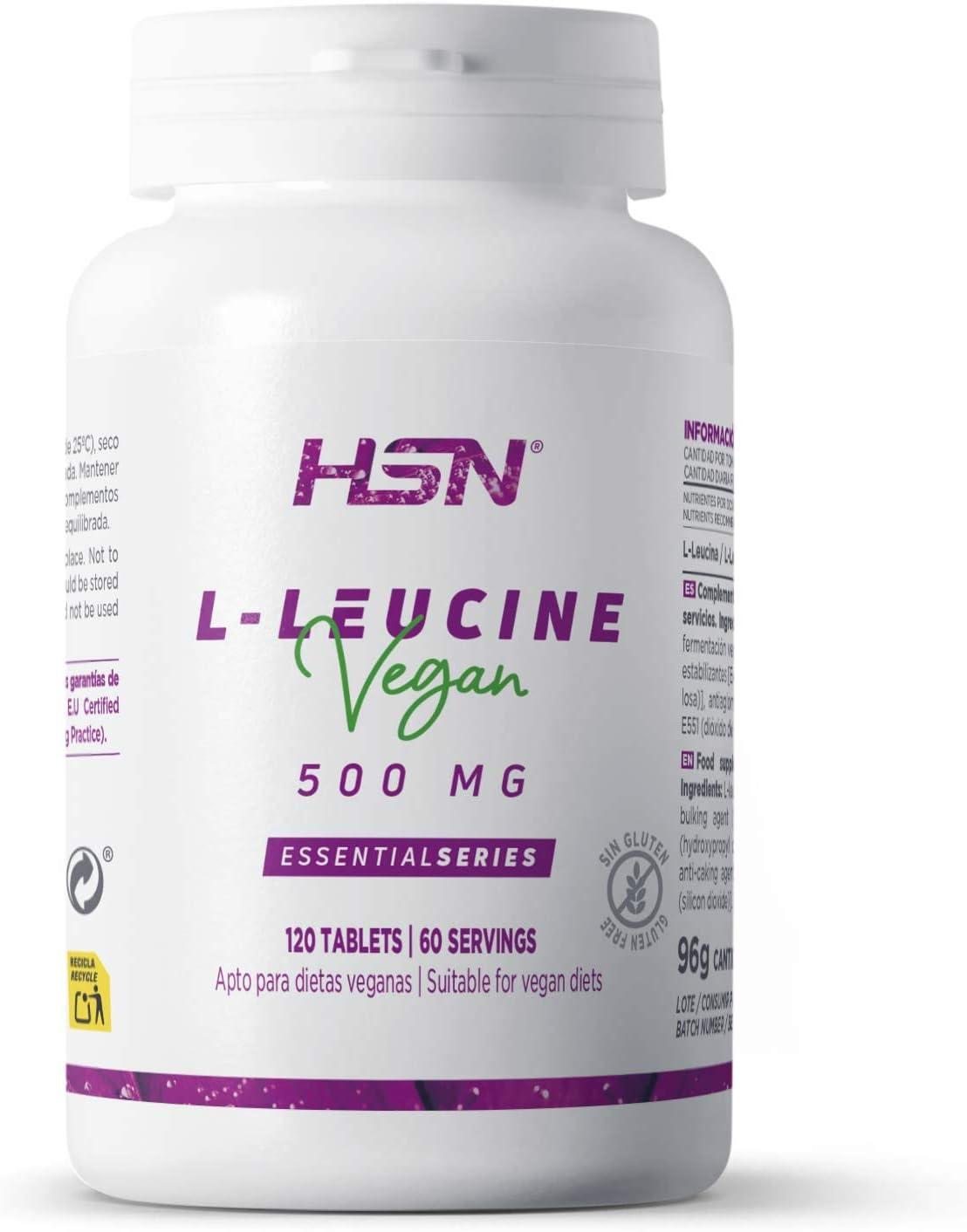 L-Leucina de HSN | 2000mg por Dosis Diaria | Aminoácido Esencial | Suplemento Deportivo Recuperador Muscular y Ganar Masa Muscular | 100% Vegano, Sin ...