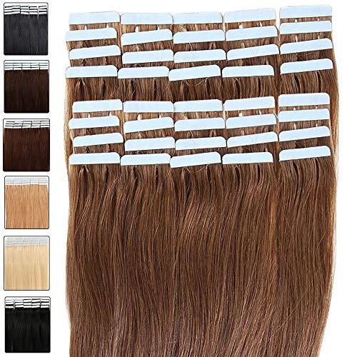 Tape Extensions Echthaar 80g Haarverlängerung 100% Echthaar Extensions Tape In 40 Tressen Glatt Hellbraun #06 (18zoll-45cm)