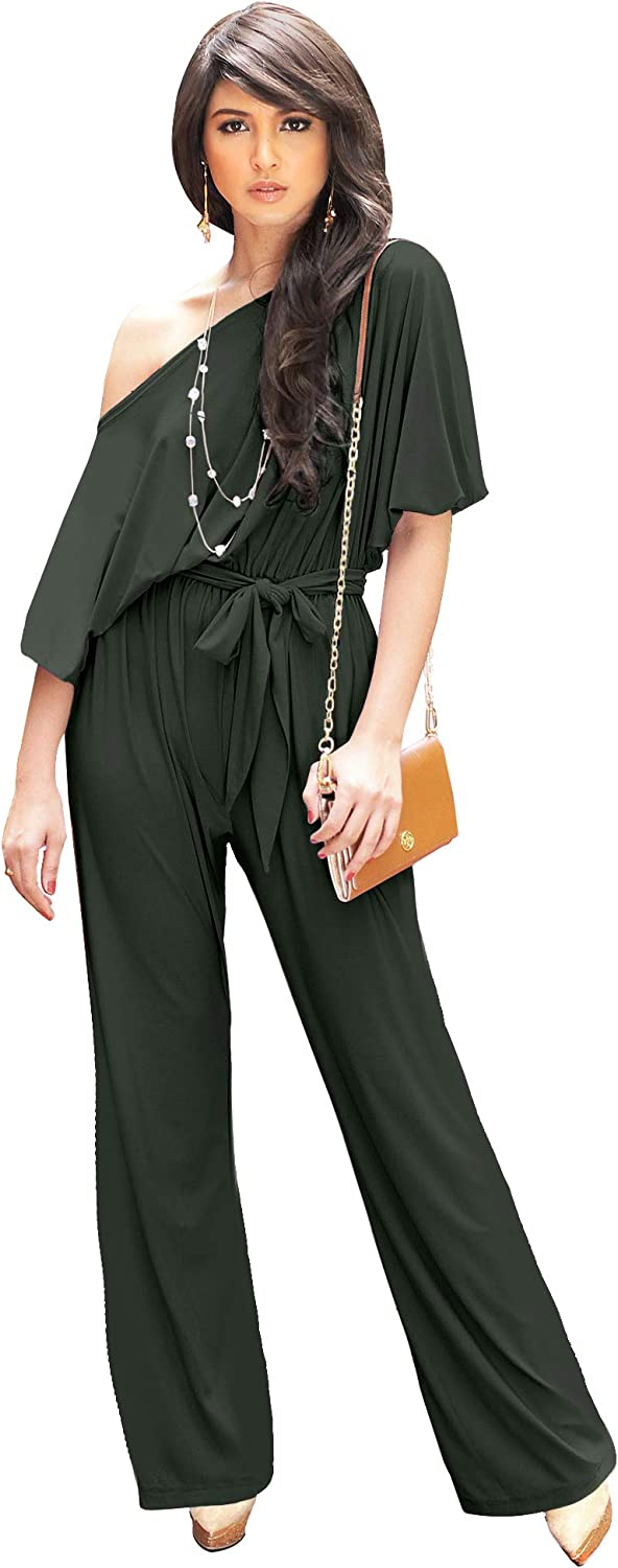 KOH Womens One Off Shoulder Short Jumpsuit Pant 訳あり品送料無料 ふるさと割 Sleeve Piece