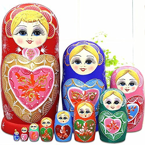 LK King&Light 10pcs R Heart-Shaped Pattern Wooden Nesting Toys Russian Dolls Matryoshka Stacking Dolls