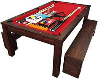simba usa 7Ft Pool Table Billiard Red Become a Dinner Table with Benches - m. Rich Red