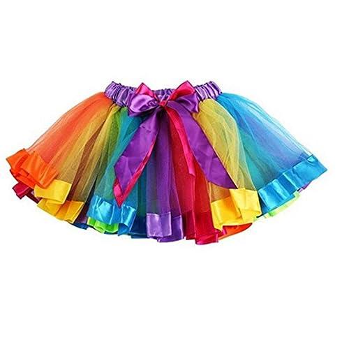 259ca0ac70 Girls Rainbow Tutu Skirt Petticoat Multicolour Dress Kids Ballet Princess  Dance