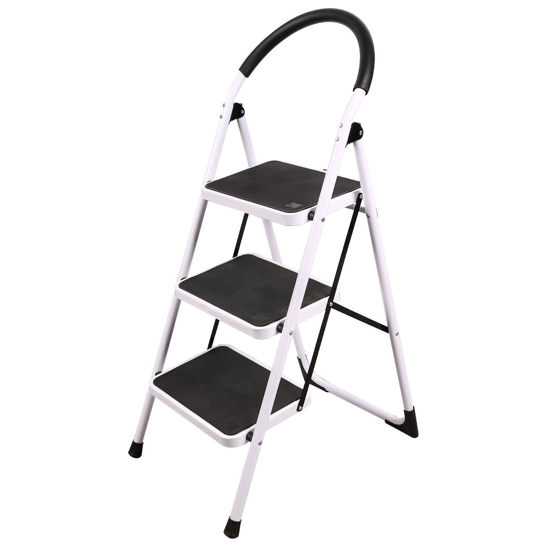 REDCAMP Escalera plegable de 2/3 escalones, escalera resistente con barandillas, taburete de escalera ancha, color blanco: Amazon.es: Bricolaje y herramientas