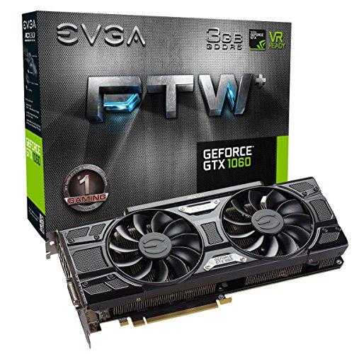EVGA GeForce GTX 1060FTW + Gaming 03G-P4–6367-KR Grafikkarte, Schwarz (3GB GDDR5, PCI Express 3.0, 1632MHz/1860MHz/8008MHz)