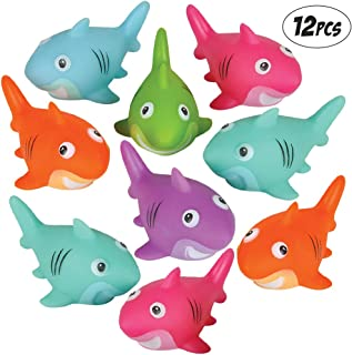 Bedwina Colorful Rubber Sharks (Pack of 12) Neon Squeezable & Squirtable Smiling Sharks, for Kids Pool and Bathtub Play, S...