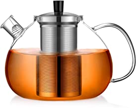 ecooe Oryginalny dzbanek do herbaty o pojemności 2000 ml ze szkła borokrzemowego, zaparzacz do herbaty ze zdejmowanym sitk...