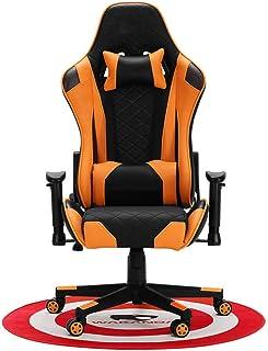 Silla De Escritorio Gamer Profesional, Silla ergonómica con reposacabezas y almohada para la cintura, silla de juego con soporte lumbar y reposabrazos elevables, apoya 155 ° reclinable, naranja