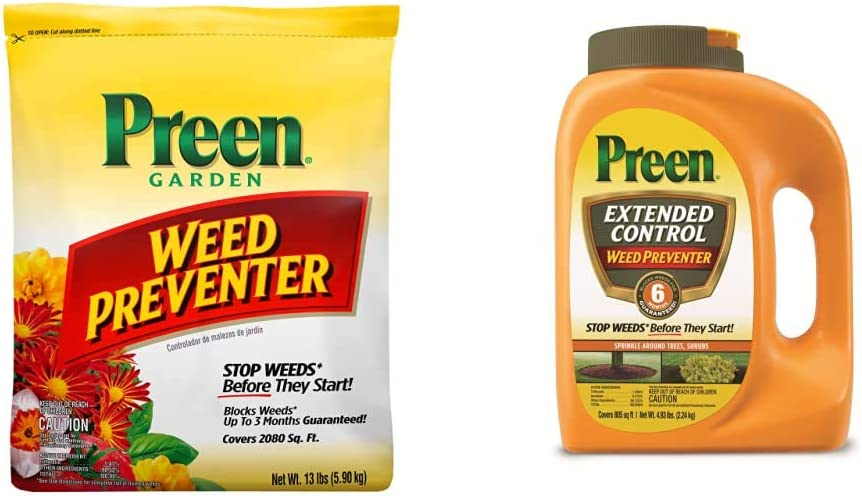 Preen 2464107 24-63798 Weed Preventer, 13 lb. Covers 2,080 sq. ft, Yellow & 2464161 Extended Control Weed Preventer - 4.93 lb. - Covers 805 sq. ft.