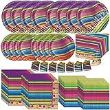 Creative Converting Serape Fiesta Dinnerware Bundle | Plates, Napkins, Table Cover, Streamer | Kids Birthday Party, Mexican Theme Decorations, Cinco de Mayo Decor