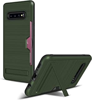 PULUZ-AU Phone Protective Cover TPU + PC Brushed Texture Protective Back Cover Case for Galaxy S10+,with Card Slot & Holder