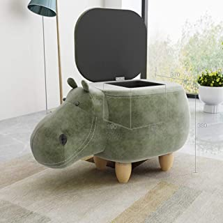 QTKK Upholstered Ride-on Toy seat Ottoman Footrest Stool Children's Wooden Animal Footstool Creative Leather Hippo Shoe Bench-Green 67x37x38cm(26x15x15inch)