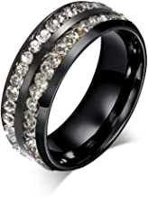 AMDXD Jewelry Stainless Steel Rings for Women Men Rings Black Two Line CZ Round Size 6 to 13