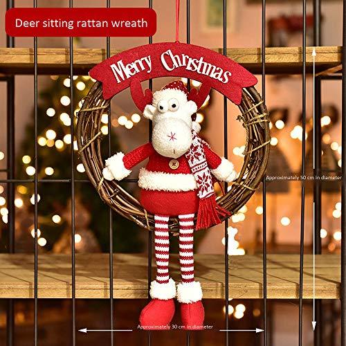 ZXPAG Kerstkrans Pre-Lit Krans voor Voordeur Kerstkransen voor Voordeur Deur opknoping sneeuwman oudere decoraties elanden marionet rotan cirkel creatieve gift scene lay-out