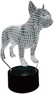 Luz nocturna 3D ilusión lámpara LED luces Bulldog francés 7 colores táctiles decoraciones de cumpleaños para niños 3D luces de ilusión óptica
