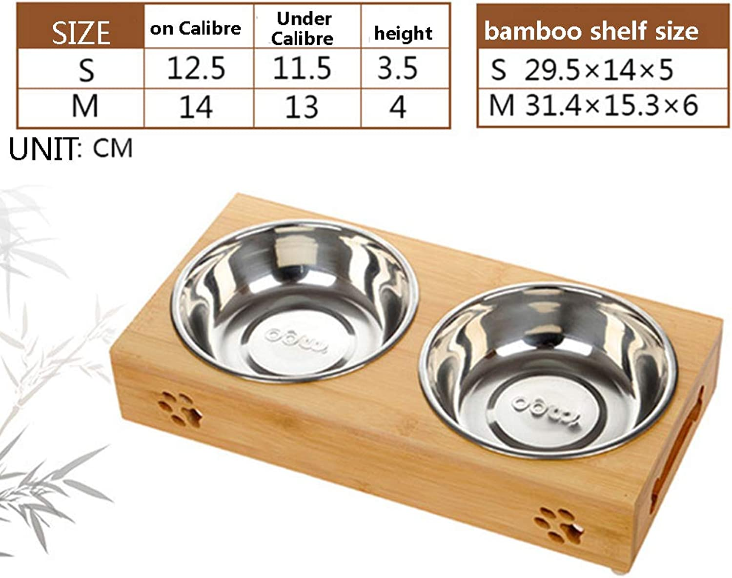 Dog Bowls Non Slip Stainless Steel Ceramic Raised Bamboo Stand Set of Double Bowls Best for Small Dogs and Cats