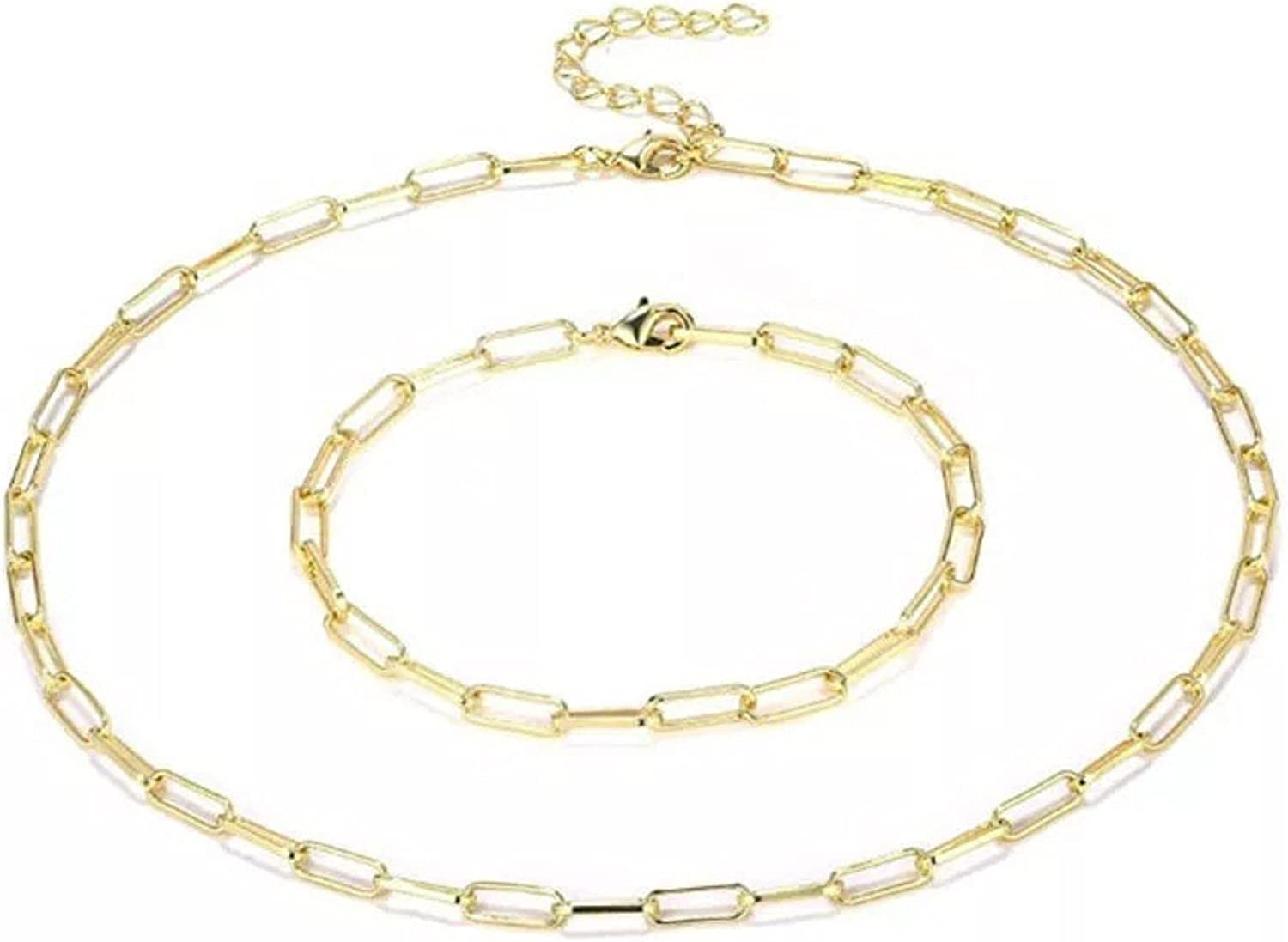"""Dainty 24"""" adjustable Paperclip 14K Gold Plated Paper Clip Circle Necklace Bracelet Set Gift for Women Girls"""