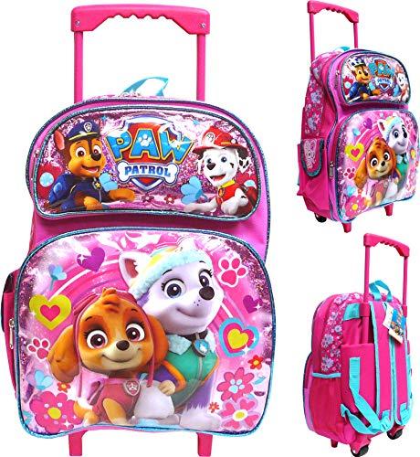 """Nickelodeon Paw Patrol 16"""" Large Rolling School Backpack, Girl"""