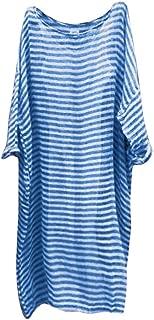 ZSBAYU Women Vintage Loose Striped Long Sleeve Casual Kaftan Boho Maxi Cotton Linen Dresses Plus Size