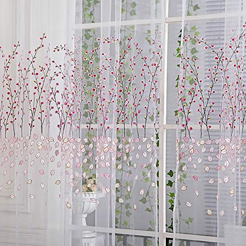 Eastery Plum Blossom Sheer Curtain Tulle Window Treatment Voile Drape Valance Simple Style 1 Panel Fabric 270Cm X 100Cm (Green) (Color : Rosa, Size : Size)