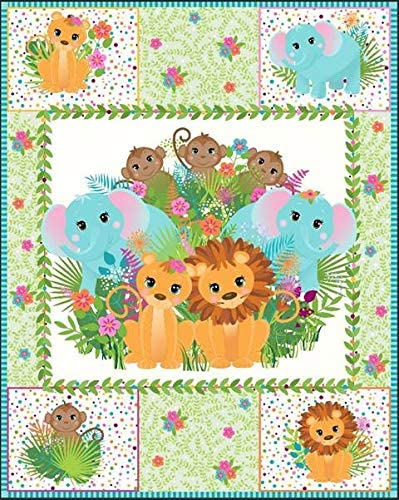 Safari Animals Pre-Quilted 13 Cheap bargain Panel Baby Discount mail order