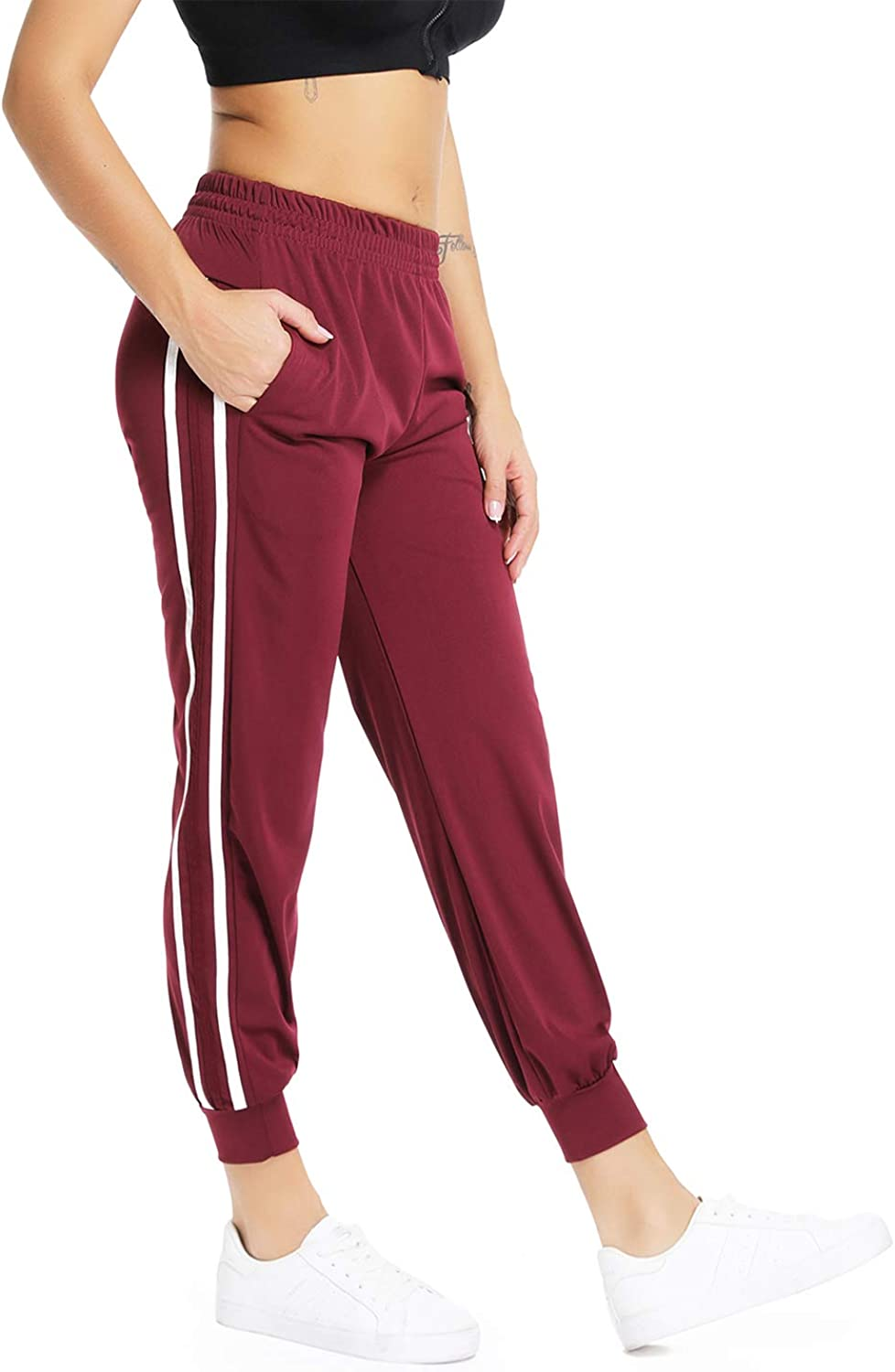 RIOJOY Women's Side Stripes Cuffed Pants Knit Trousers Athletic Training Casual Joggers Sweatpants with Pockets