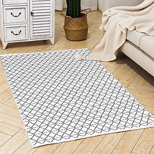 hi-home Baumwolle Teppich, Boho Gewebte Teppich mit Quasten Waschbar Retro Teppiche Läufer für Wohnzimmer Schlafzimmer Eingangstür Küche 90x150cm (Schwarz)