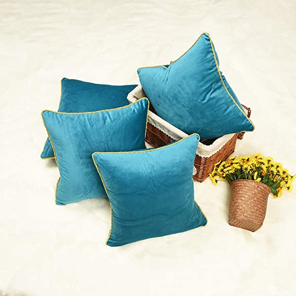 YINNAZI Modern Light Luxury Series Double Sided Super Soft Velvet Square Solid Color Throw Pillow Cases Decorative Cushion Covers For Couch Sofa Chair Bench Set Of 4 18X18 Inch Blue Green
