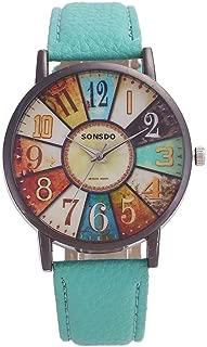 Fashion Retro Personality Digital Turntable PU Leather Strap Quartz Watch(Black) Personality (Color : Green)