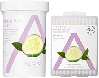 Almay Eye Makeup Remover Pads and Makeup Eraser Sticks, Oil Free Gentle, Hypoallergenic, Cruelty Free, Fragrance Free, 5.6 oz (120 Pads and 24 Sticks)