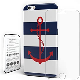 Phone Case Protectivedesign Hard Back Case Nautical Red Anchor Navy Blue and White Stripe Slim Case With Tempered Glass Screen Protector for iPhone 6 plus/iPhone 6s plus by Rocking Giraffe