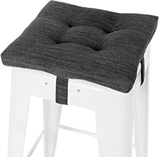 baibu Square Seat Cushion, Super Soft Bar Stool Square Seat Cushion with Ties - One Pad Only, Gray-Black 14