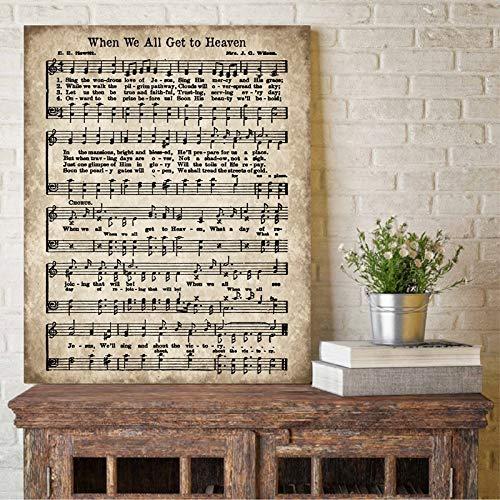 ganlanshu Als wir alle ins Paradies gingen, Notenblatt Leinwand Malerei Vintage antike Nationalhymne inspirierende Poster,Rahmenlose Malerei-40X53cm