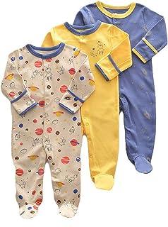 Bebé Mameluco de Algodón Piezas de 3, Recién Nacido Pelele Niño Niña Pijama Monos Manga Larga Body Ropa para Bebé 0-12 Meses