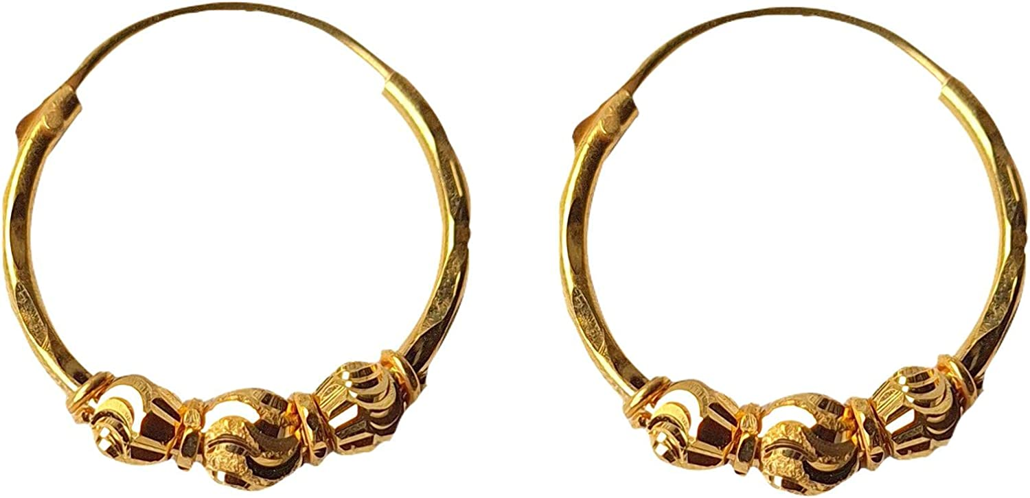 Certified Solid 22K/18K Yellow Fine Gold Triple Bead Design Hoop Earrings Available In Both 22 Carat And 18 Carat Fine Gold, For Women,Girls,Kids,Gifts,Bridal,Wedding,Engagement & Celebrations