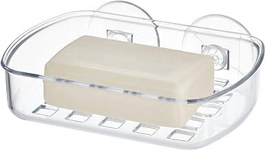 iDesign Basic zeepbakje, zeepbakje van kunststof met twee sterke zuignappen, doorzichtig