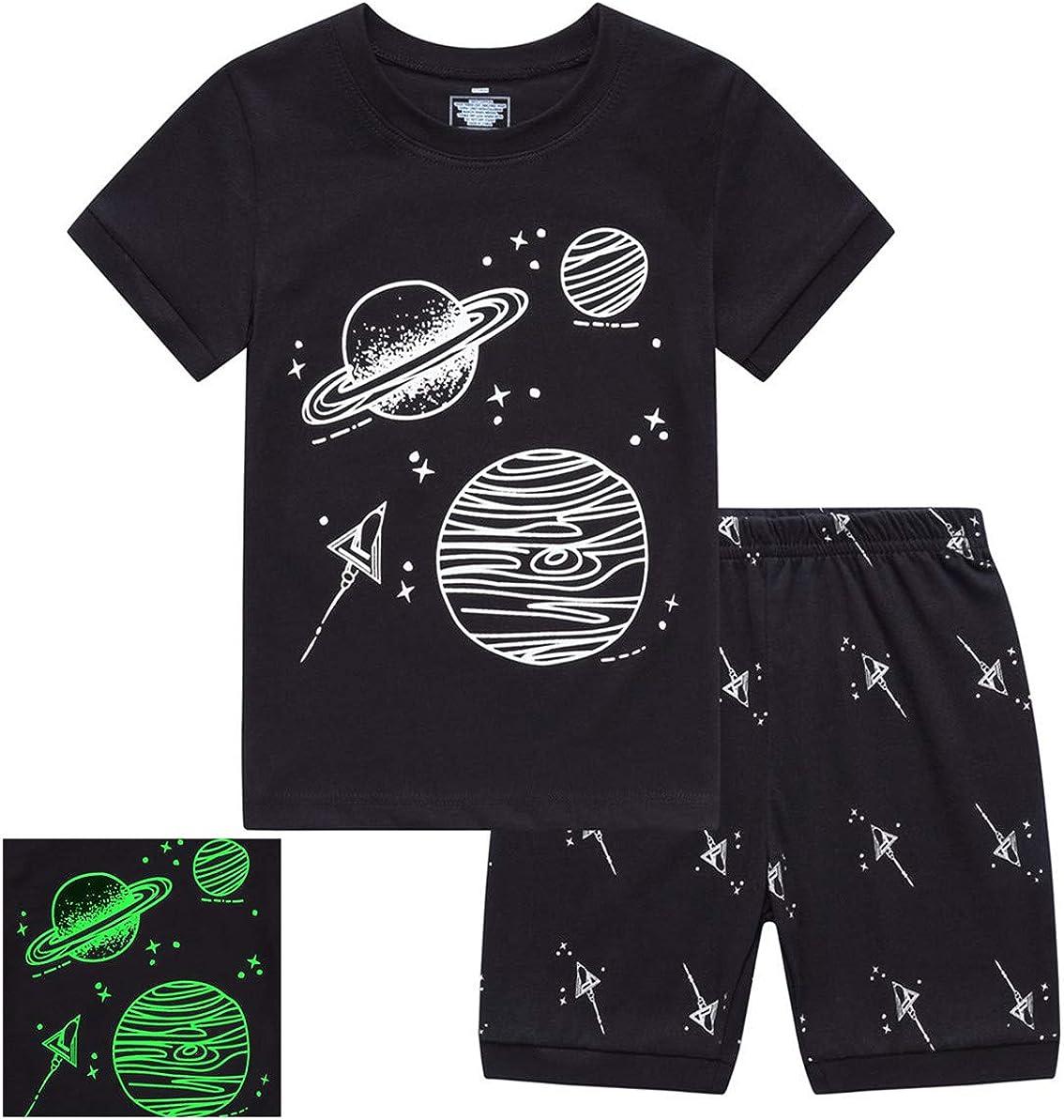 RKOIAN Little Boys Girls' Pajamas Sets Glow in The Dark Toddler Pjs Cotton Kids Sleepwear