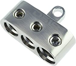 DS18 SB2/PN Battery/Ground Terminal - Positive/Negative Competition Distribution Block, Nickel Plated Ultra Conductive Copper Alloy, 2 x 1/0GA and 1 x 2/0GA, Bolt Down Holes (Single)